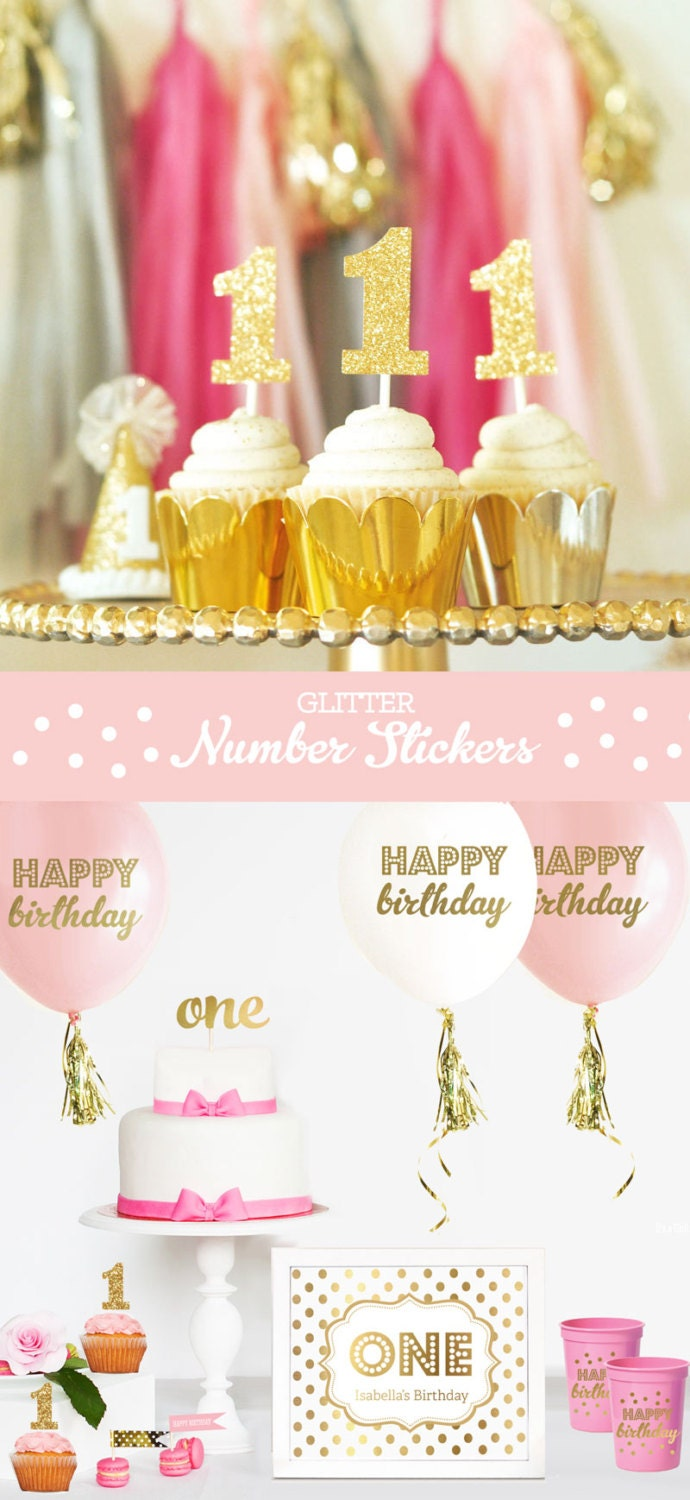 Gold Glitter Number Cup Cake Toppers DIY Glitter Number