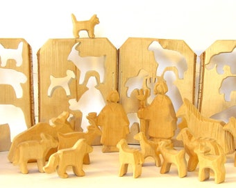 Farm Animals, Wooden Farm, Carved Animals, Waldorf Toy, Wooden Animals, Woodcarving, Ecological Toy