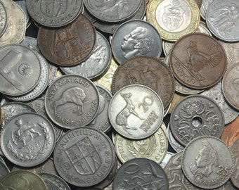 """20 Large World Coins, Dates May Vary From 1900-1990, Each is 1.1""""-1.5"""" in Diameter and NO DUPLICATES"""