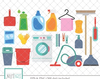 Cleaning clip art, Laundry clipart, vector graphics, Soap clipart, digital clip art, digital images -  CL 123