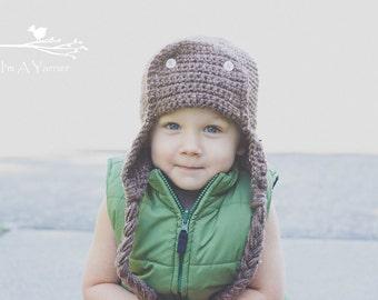 Brown Aviator Hat, Adult Pilot Beanie, Earflap Hat, Baby Boy Beanie, Warm Winter Hat, Pilot Gift, Adult Pilot Cap, Crochet Helmet, Brown Hat