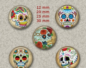 80% OFF Summer Sale Sugar Skull Jewelry Dia de los Muertos 1 Inch Circle Digital Collage Bottle Cap Jewelry Images Necklace, Magnets, Sticke