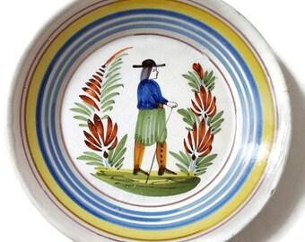 Antique Quimper ceramic plate, Brittany decor, french home decor, Britanny man, Breton