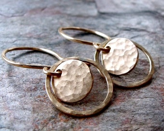 14K GoldFill Circle Earrings - 14K Goldfill Hammered Earrings on Handmade Yellow Goldfill Earwires