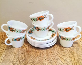 Vintage 1970's Pyrex Carnaby - Set of 12 Cups and Saucers - Jaj Tempo - Tea Set - Retro - Brown Orange Grey Turquoise