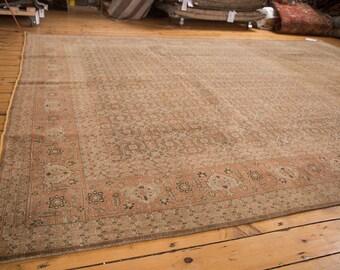 9.5x12.5 Distressed Vintage Tabriz Carpet