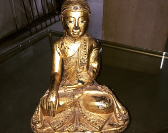 Antique Gilded Wood Buddha Statue