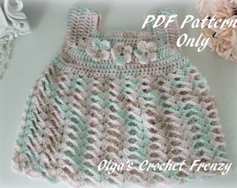 Crochet Baby Dress Size 0-3 Months, Easy Level, PDF Pattern, Instant Download