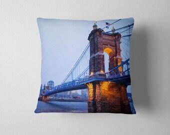 Blue Home Decor Cincinnati Suspension Blue Throw Pillow - Roebling Bridge Decorative Pillow, Blue Pillowcase - 16x16, 18x18, or 20x20
