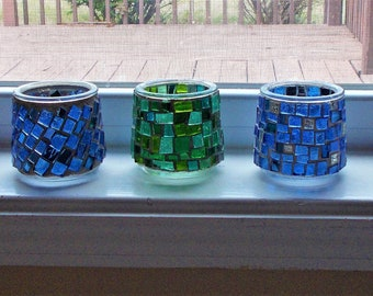 set of three stained glass votives