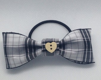 Black tartan heart bow hair bobble