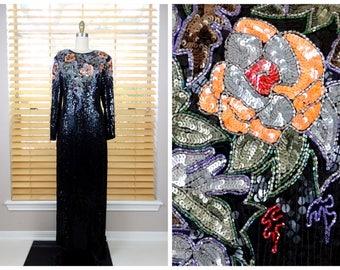 Orange Floral Sequined Black Embellished Dress // Art Deco Gown // Vintage Sequin Trophy Dress S/M
