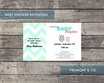 PRINTABLE INVITATION - Baby Shower or Birthday - Mint Chevron