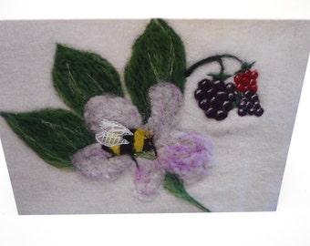 Bee card, needle felted design, greetings card, bee on blackberry