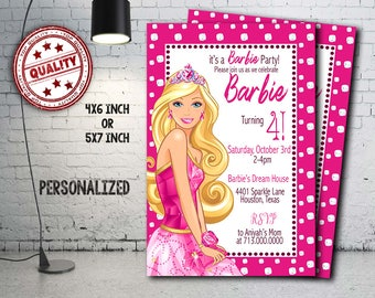 Barbie Invitation, Barbie Birthday, Barbie Party, Barbie Crad, Barbie Printable, Barbie Invitations, Barbie, Girl Invitation, Girl_BF1107