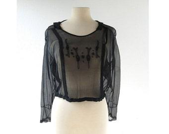 Vintage 1920s Blouse | Sheer Black Top | Beaded Blouse | Medium M