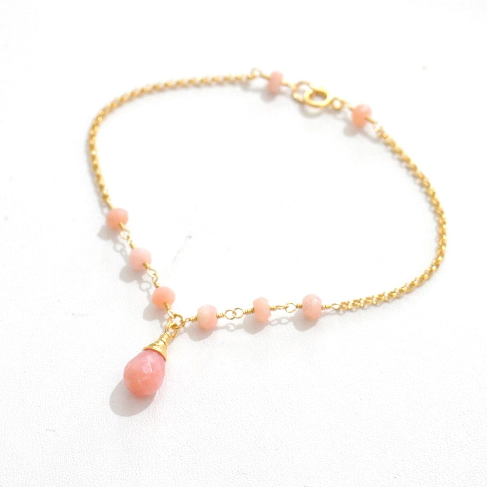 fullxfull calming products healing gemstones opal natural quartz stretch il bracelet pink stone