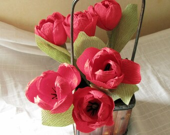 Red paper tulips, Crepe paper flower
