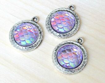 Mermaid Pendants, Mermaid scale, Holographic pendants, silver pendant, silver mermaid, dragon skin pendant, snake skin charm, US seller