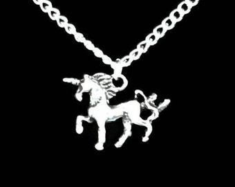 SET Prancing Unicorn Necklace and Matching Earrings