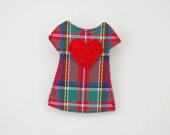 Tartan Handmade Dress Brooch with Red Wool Heart -  Fiber Pin Women's Accessories