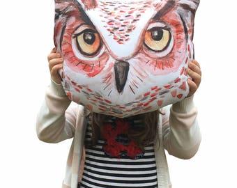 Owl, woodland animal, stuffed pillow, plush toy, nursery, collection, illustration, modern