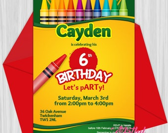 Printable Crayon Art Party Invitation | Personalized