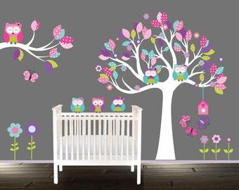 Peel Stick Girls Owl Wall Decal Girls nursery tree Floral Nursery Decal wandtattoo eule teal pink purple tree owls & Owl wall decal | Etsy