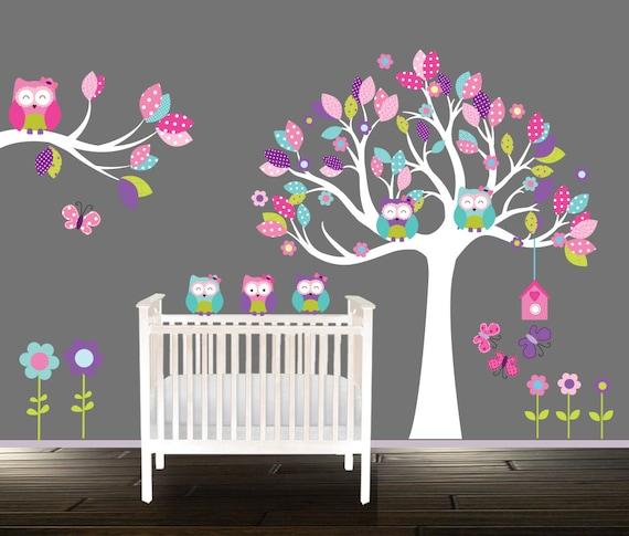 Ziehen Stock, Mädchen Eule Wandtattoo, Mädchen Kinderzimmer Baum, Blumen  Kinderzimmer Aufkleber, Wandtattoo Eule, Petrol, Rosa, Lila, Baum, Eulen