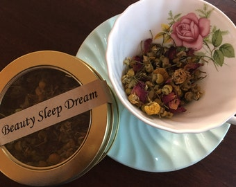 Beauty Sleep Dream Organic Tea - Herbal Rose Petals Chamomile Blossoms Lavender Buds in Round Window Tin or Zipper Pouch