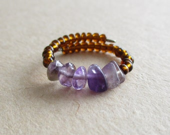 Amethyst gemstone chip beads seed beads memory wire beaded ring