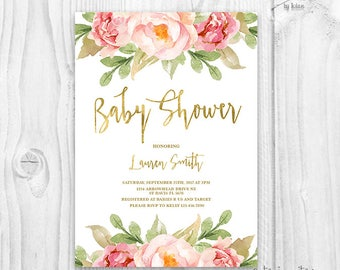 Floral Baby Shower Invitation Brunch For Baby Invitation