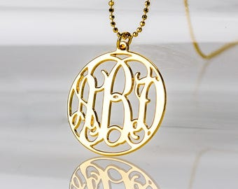 18K Gold Plated Circle Monogram necklace over Sterling Silver 0.925