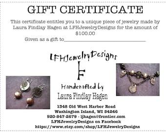 Gift Certificate 100.00 Dollars