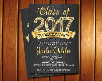Gold Diamond Graduation Invitations for  College or High School Printable Class of 2016 Graduation Announcement