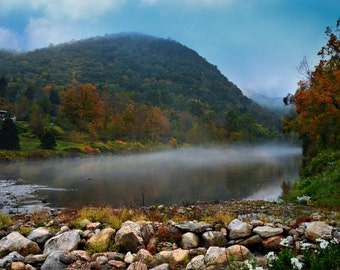 NEW ENGLAND Travel Photograph ~ Nature Photography ~ Misty River Fog ~ Fall Foliage ~ Autumn Landscape ~ Mountains and Lakes ~12 x 18 Format