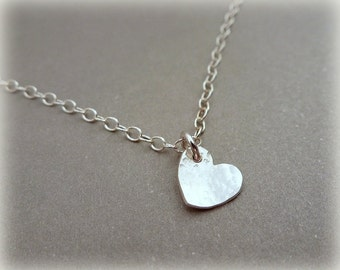 Silver Heart Necklace - Solid Sterling Silver Tiny Small Heart Pendant Chain Handmade 925