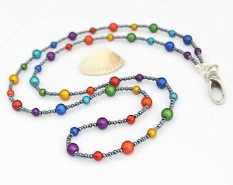 Rainbow Beaded Lanyard - Breakaway Lanyard - ID Lanyard - Key Lanyard - Teacher Lanyard - Office Lanyard - Teacher Gift - Rainbow Lanyard