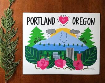 Portland Oregon Mountain View - Art Print  - Wall Art - mountain, mt hood, PNW
