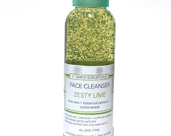 ZESTY LIME Facial Cleanser-Lime Face Scrub-Facial Cleanser-Foaming Face Scrub-Face Wash- 2 oz.