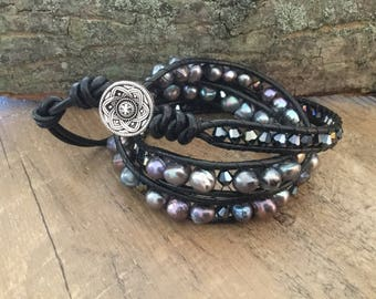 A1043 Leather Triple Wrap Bracelet with Freshwater Pearls and AB Crystals