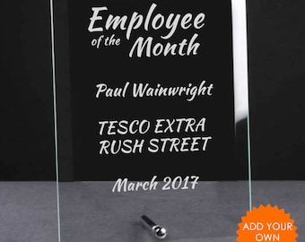 Personalised Employee of the Month Glass Plaque Trophy Award - Engraved Work Trophies, Staff Awards, Coporate Plaques