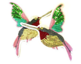Hummingbird Sew on Patches, Hummingbird Patches, Hummingbird Patch, Bird Patch, Bird Patches, Left or Right Facing Patches