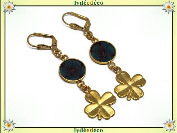 Earrings brass gold 24 k 4 clover leaves blue Brown resin gift birthday mother's day wedding thank you teacher