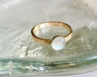 Rainbow moonstone ring-14kt gf