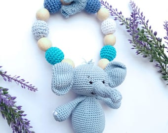 Elephant Teething ring, Baby teething, Wooden rattle toy, Gift for baby, Christmas gift