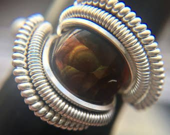 Sterling Silver Wire Wrapped Fire Agate Ring, Fire Agate Wire Wrap, Wire Wrap Fire Agate, Fire Agate Jewelry, Heady Wire Wrap, Heady Ring