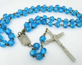 Our Lady of Fatima Blue Rosary Glass Beads Senhora de Fatima