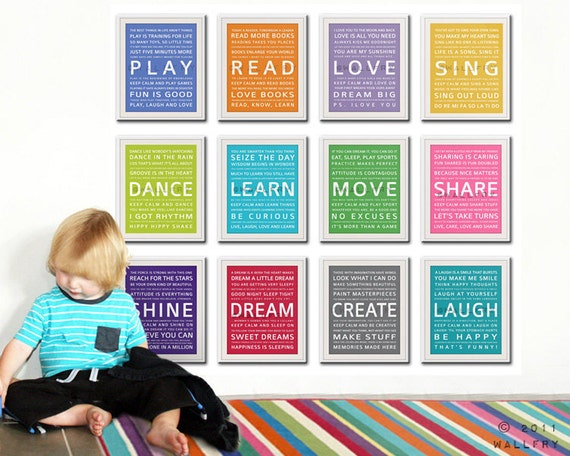 Perfect Word Art Wall Art For Kids. Playroom Prints Playroom Children