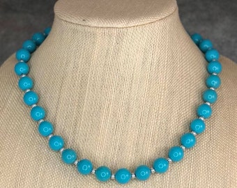Simple Blue Necklace, Turquoise, Blue Necklace, Beaded Necklace, Gumball Necklace, Simple Necklace, Acrylic Bead Necklace, Strand Necklace